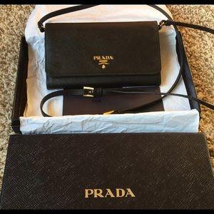 Prada Wallet Purse Crossbody Black Leather